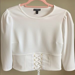 NWOT Express Crop style Blouse with puffy shoulder